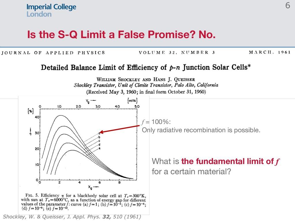 Is the S-Q Limit a False Promise? No. 6 Shockle...