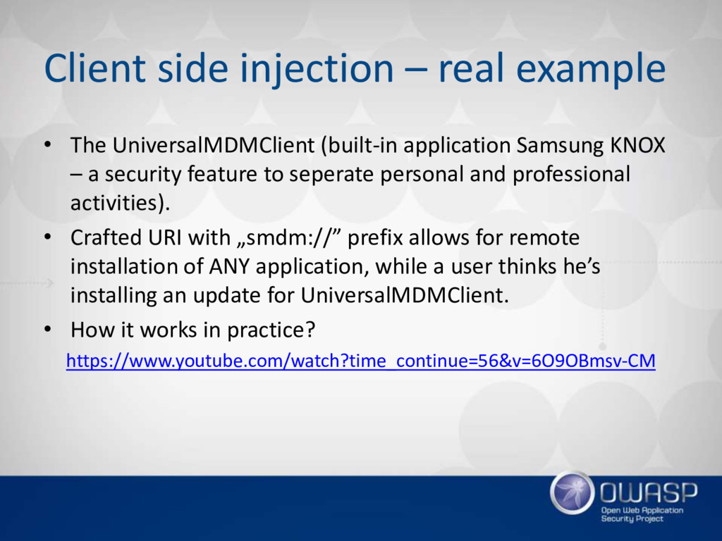 Client side injection – real example • The Univ...