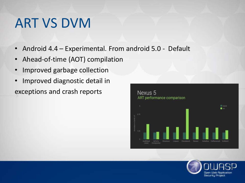 ART VS DVM • Android 4.4 – Experimental. From a...