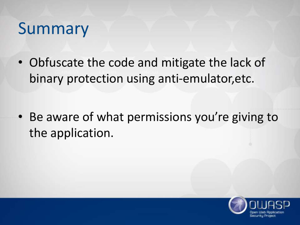 Summary • Obfuscate the code and mitigate the l...