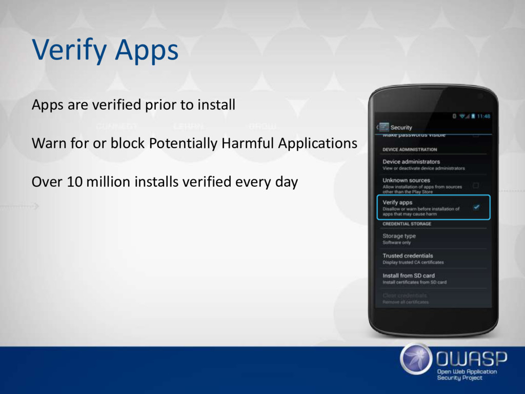 Verify Apps Apps are verified prior to install ...