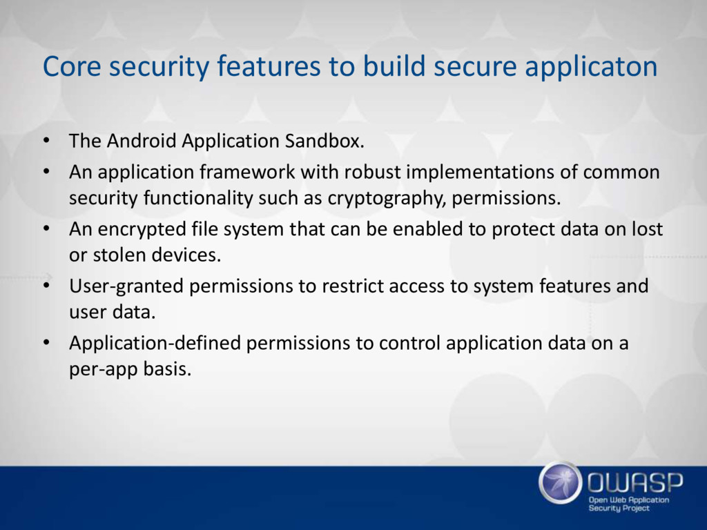 Core security features to build secure applicat...