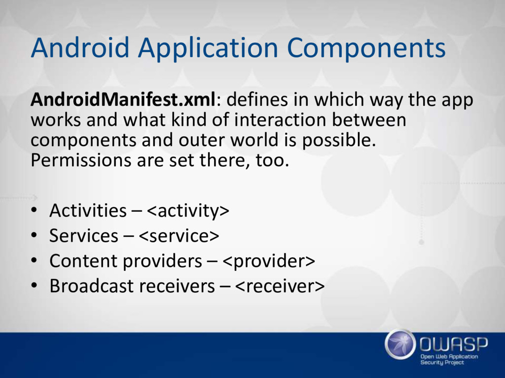 Android Application Components AndroidManifest....