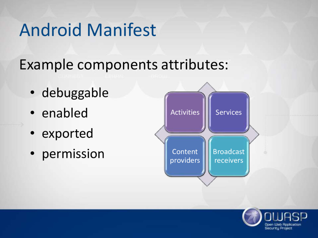 Android Manifest • debuggable • enabled • expor...