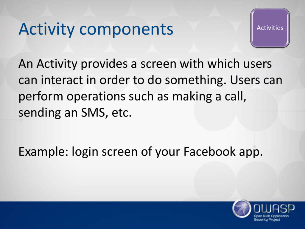 Activity components An Activity provides a scre...