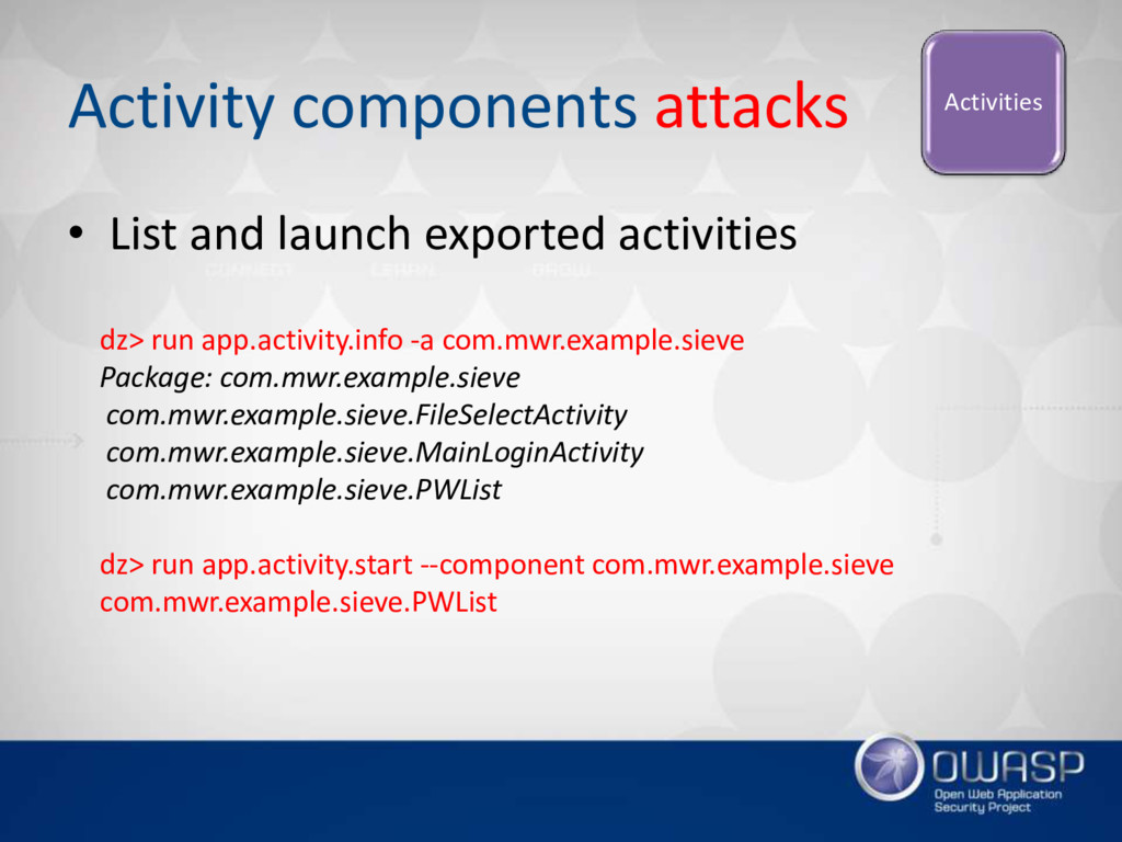 Activity components attacks Activities • List a...