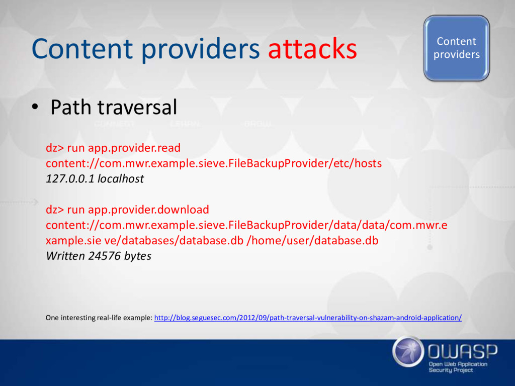 Content providers attacks • Path traversal Cont...