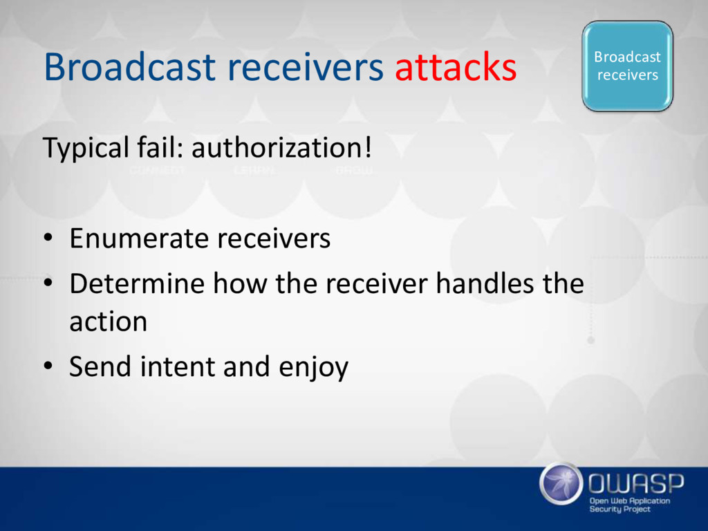 Broadcast receivers attacks Typical fail: autho...