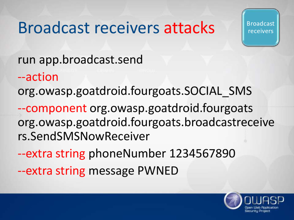 Broadcast receivers attacks run app.broadcast.s...