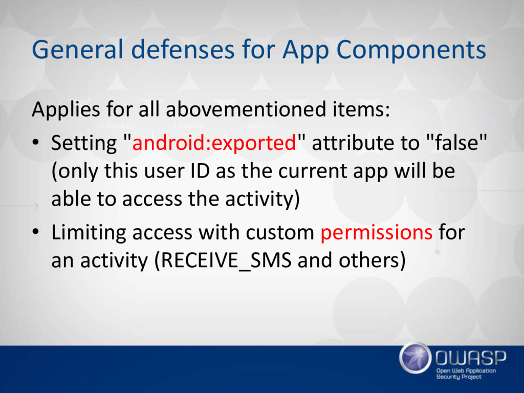 General defenses for App Components Applies for...