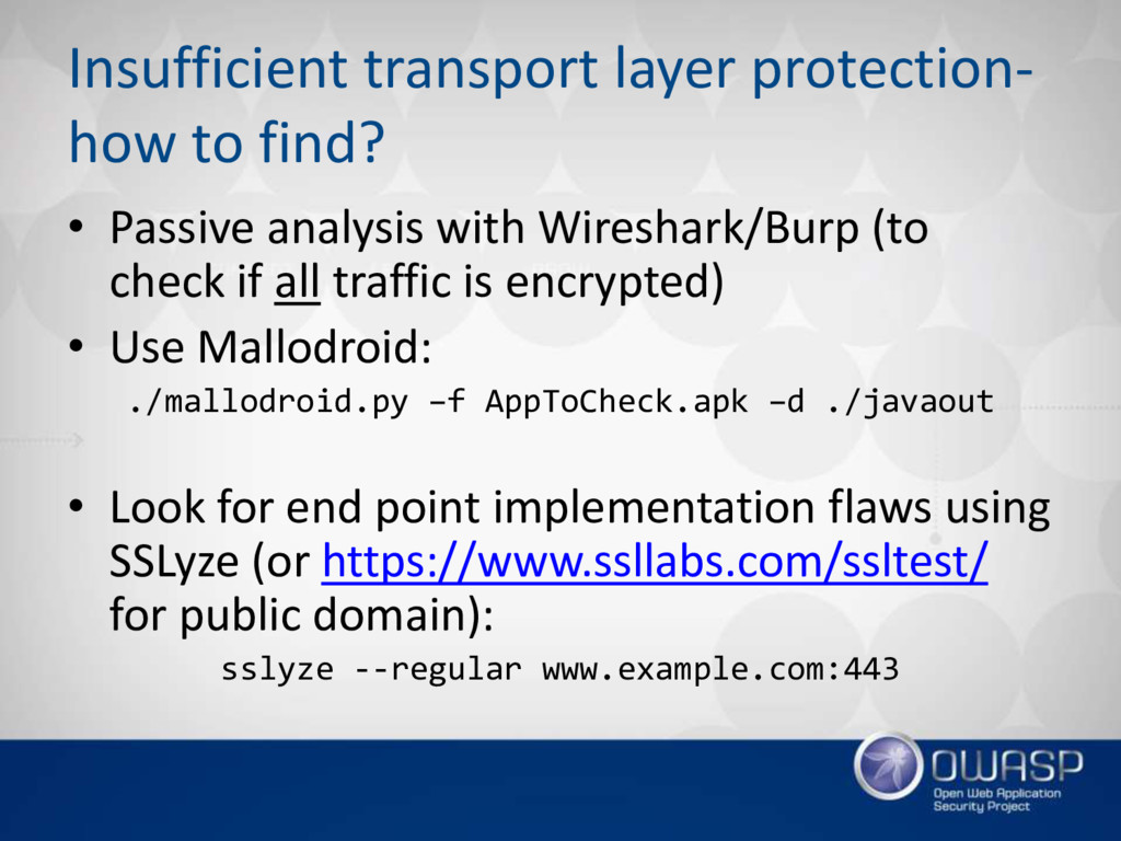 Insufficient transport layer protection- how to...
