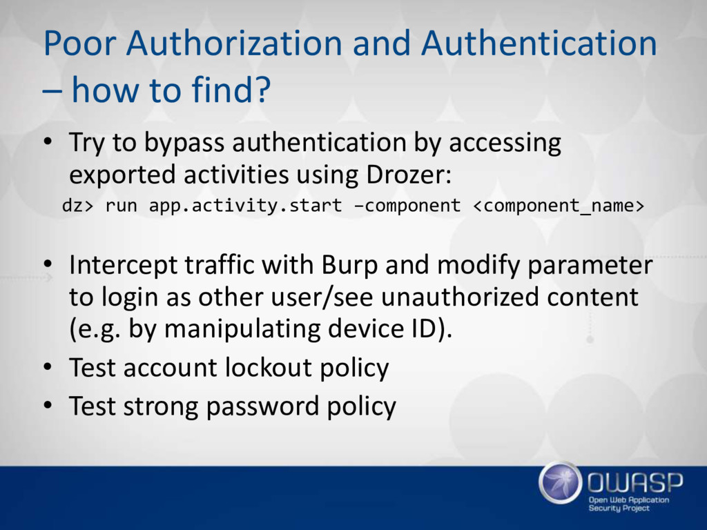 Poor Authorization and Authentication – how to ...