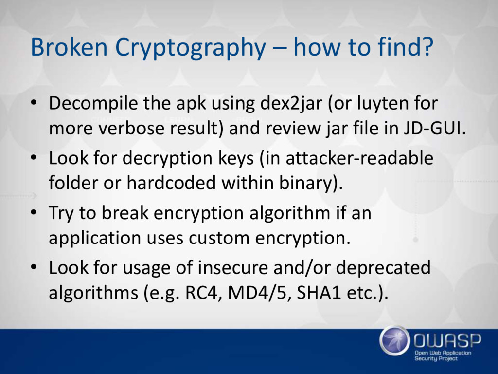 Broken Cryptography – how to find? • Decompile ...