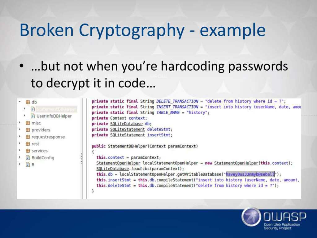 Broken Cryptography - example • …but not when y...