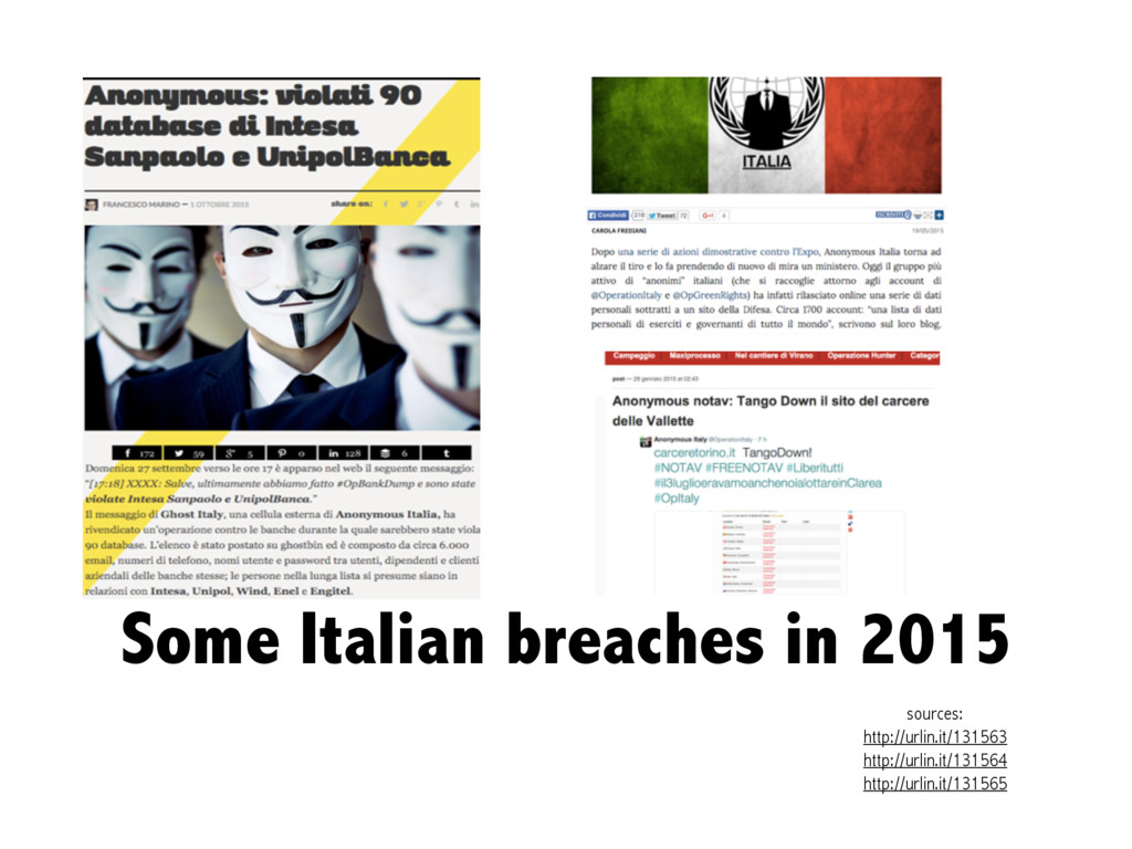 Some Italian breaches in 2015 sources: http://u...
