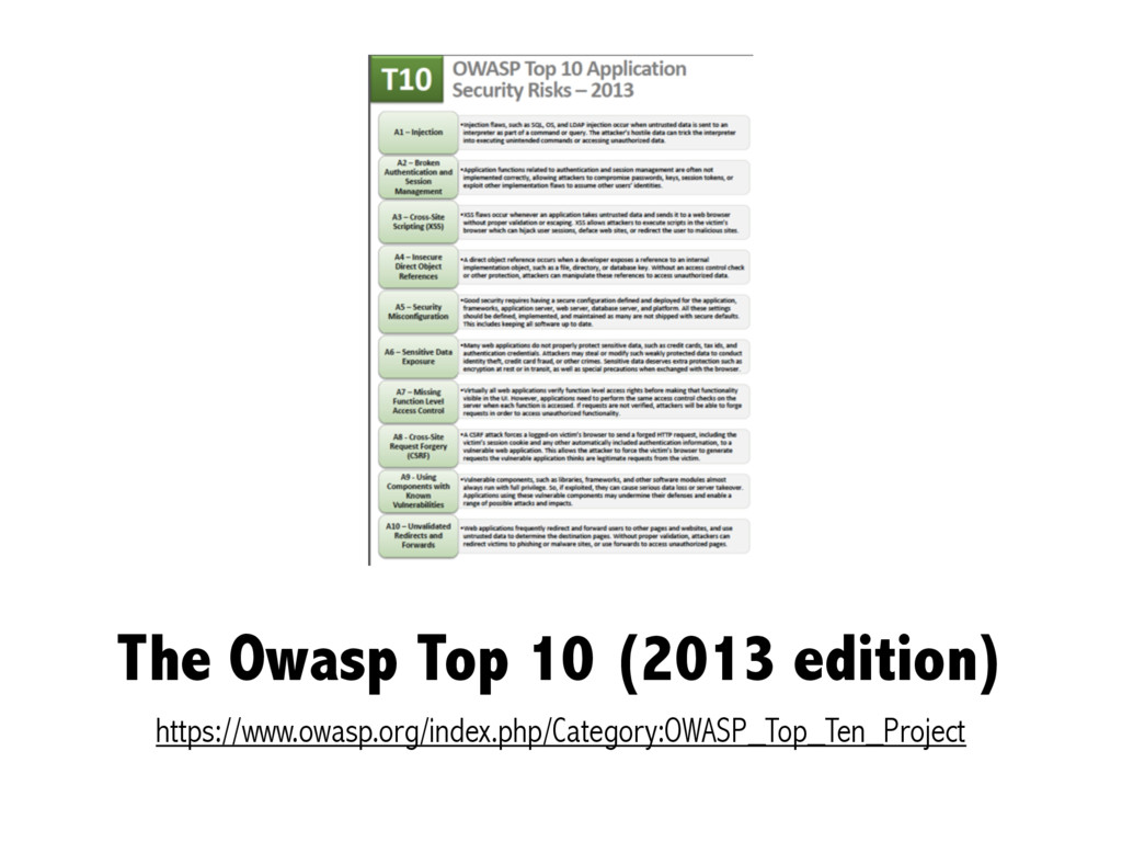 The Owasp Top 10 (2013 edition) https://www.owa...