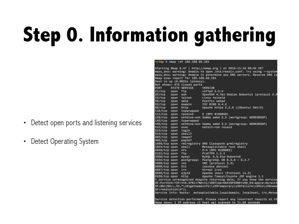 Step 0. Information gathering • Detect open por...