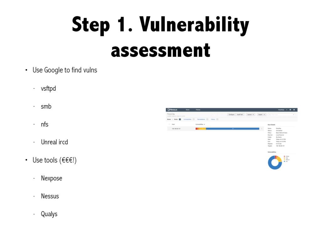 Step 1. Vulnerability assessment • Use Google t...