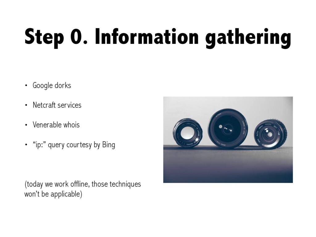 Step 0. Information gathering • Google dorks • ...