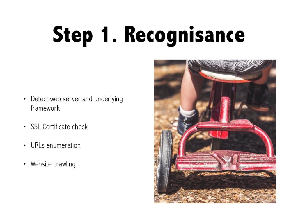 Step 1. Recognisance • Detect web server and un...