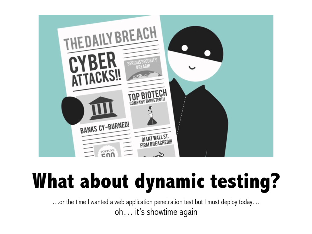 What about dynamic testing? …or the time I want...