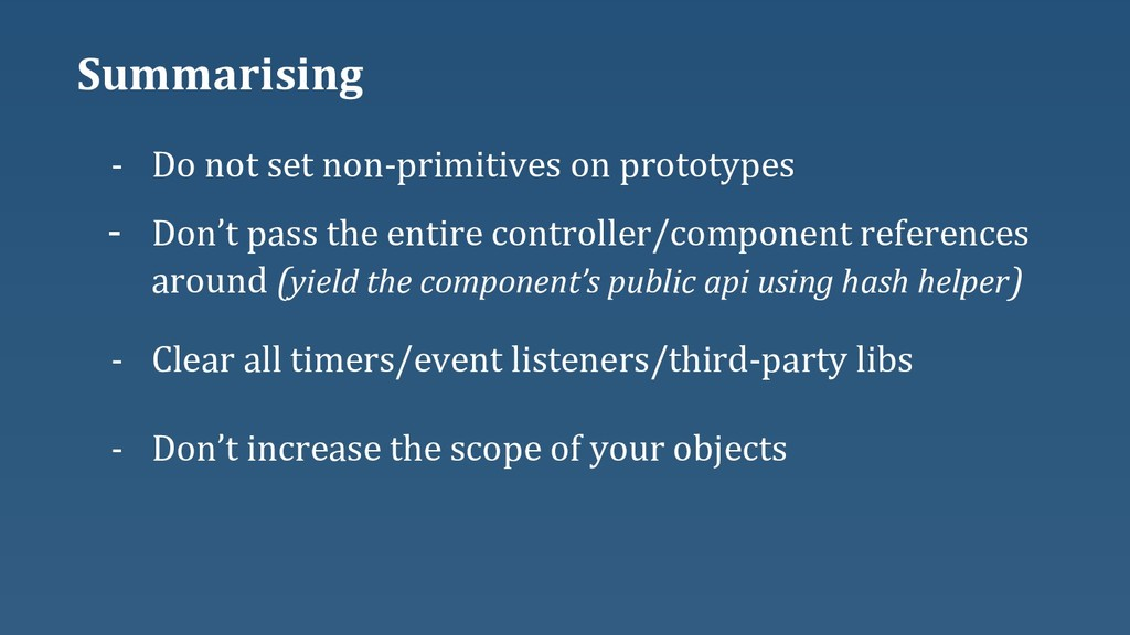 Summarising - Clear all timers/event listeners/...