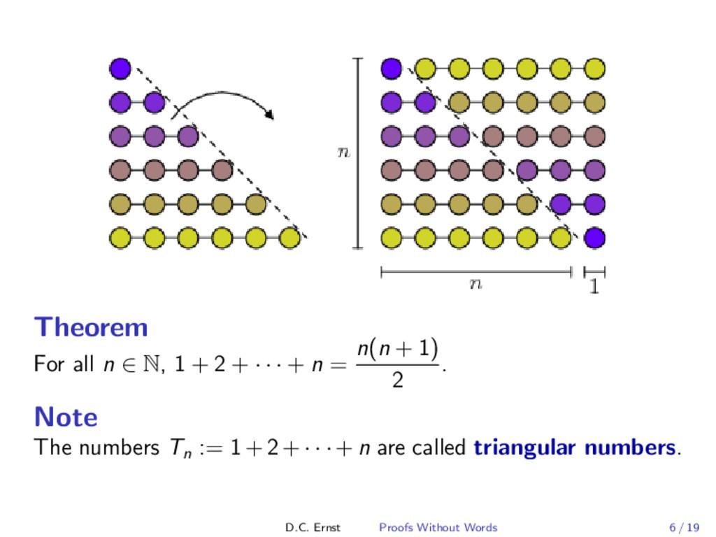 Theorem For all n ∈ N, 1 + 2 + · · · + n = n(n ...