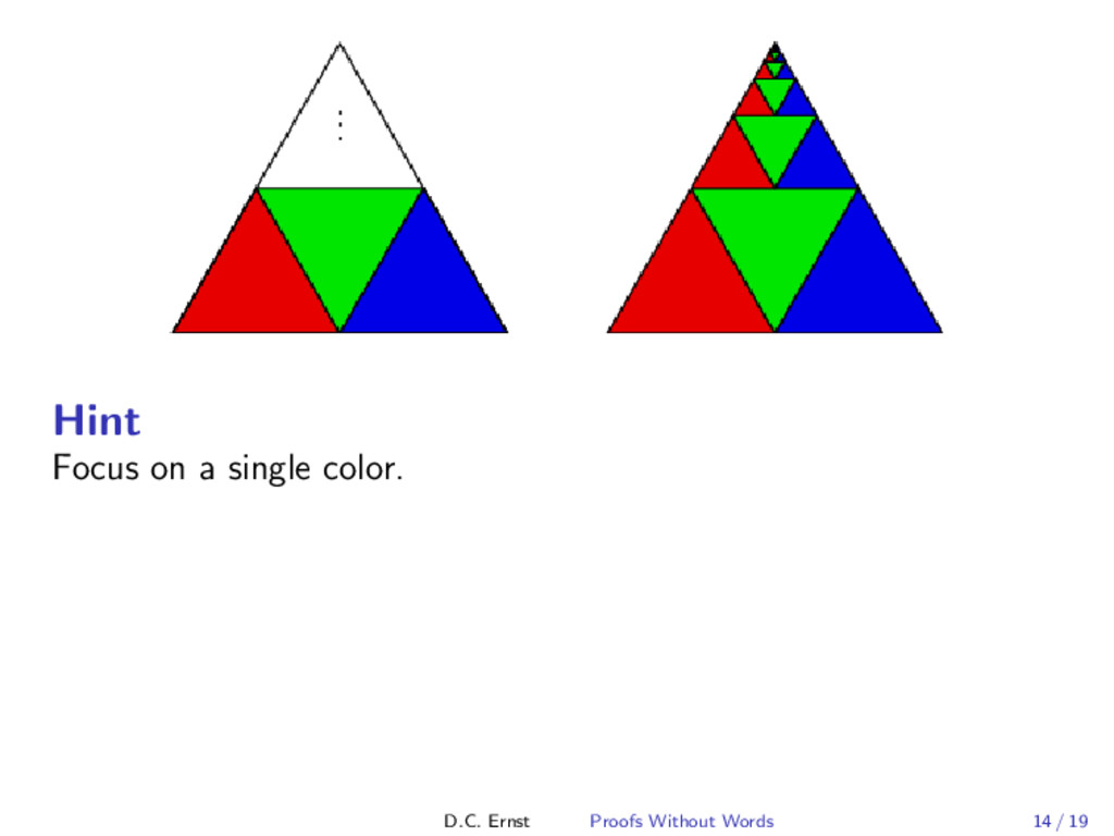 Hint Focus on a single color. D.C. Ernst Proofs...