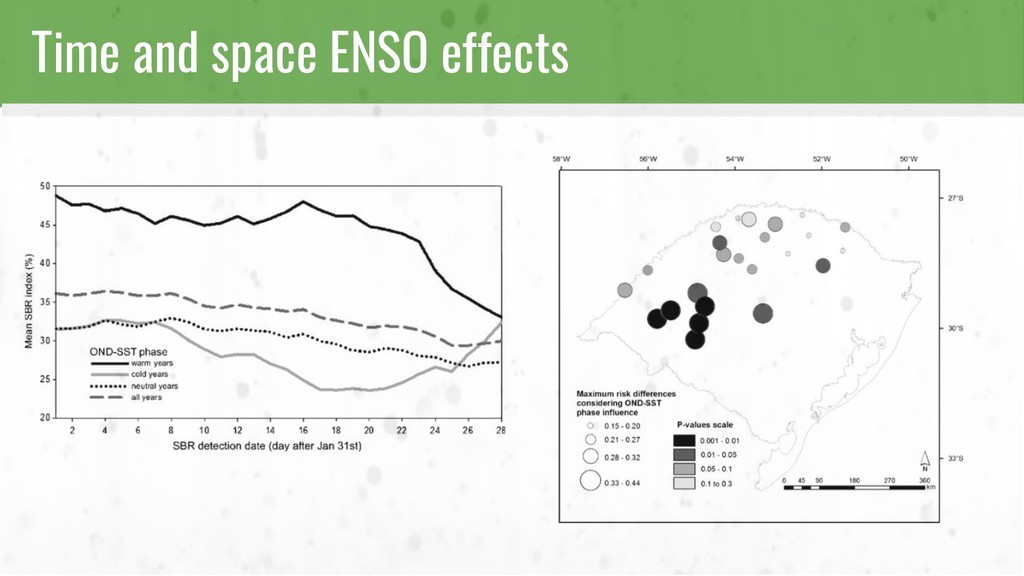 Time and space ENSO effects