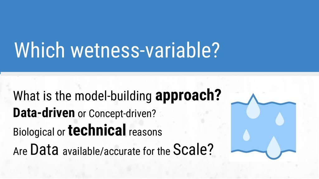 Which wetness-variable? What is the model-build...