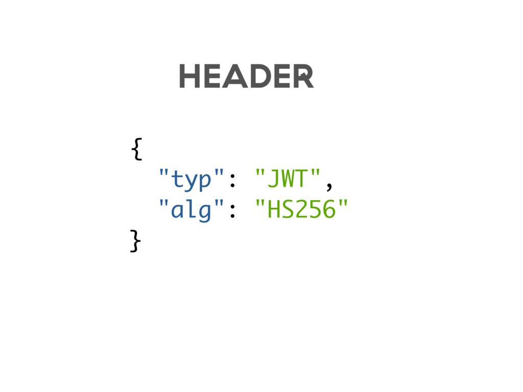"{ ""typ"": ""JWT"", ""alg"": ""HS256"" } HEADER"