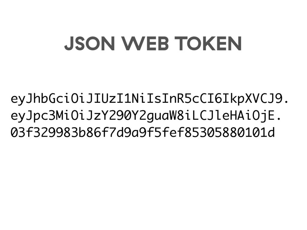JSON WEB TOKEN eyJhbGciOiJIUzI1NiIsInR5cCI6IkpX...