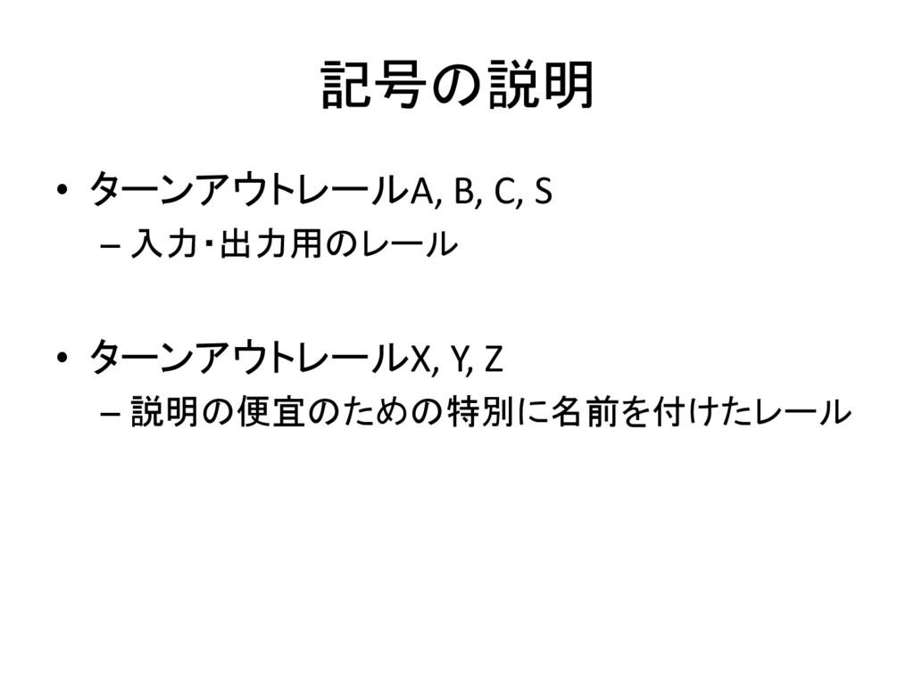 記号の説明 • ターンアウトレールA, B, C, S – 入力・出力用のレール • ターンア...