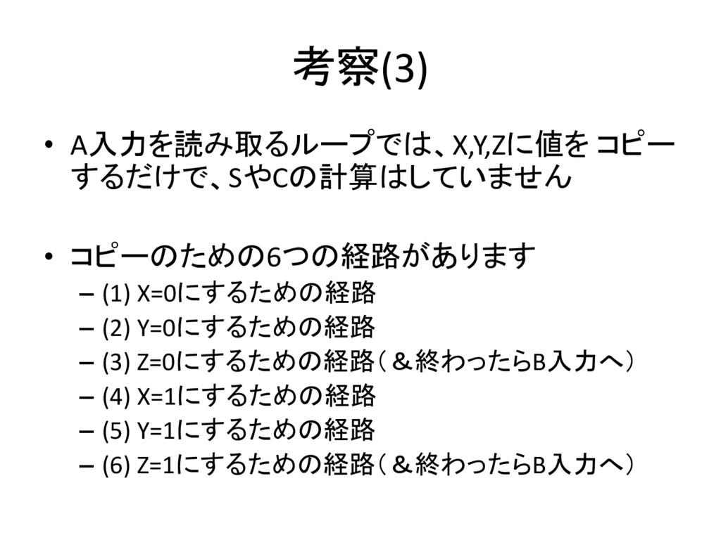 考察(3) • A入力を読み取るループでは、X,Y,Zに値を コピー するだけで、SやCの計算...