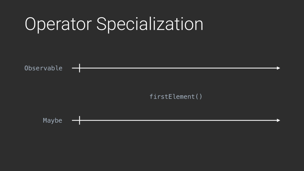 Operator Specialization firstElement() Observab...