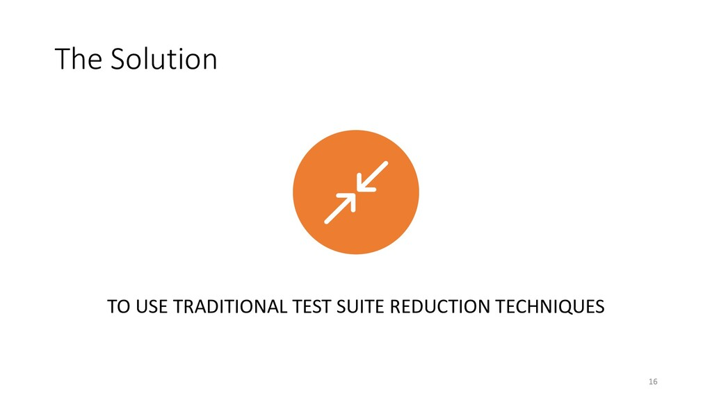 The Solution TO USE TRADITIONAL TEST SUITE REDU...