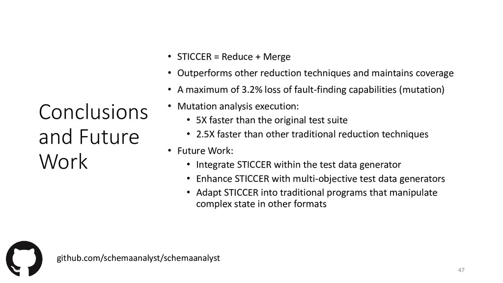 Conclusions and Future Work • STICCER = Reduce ...
