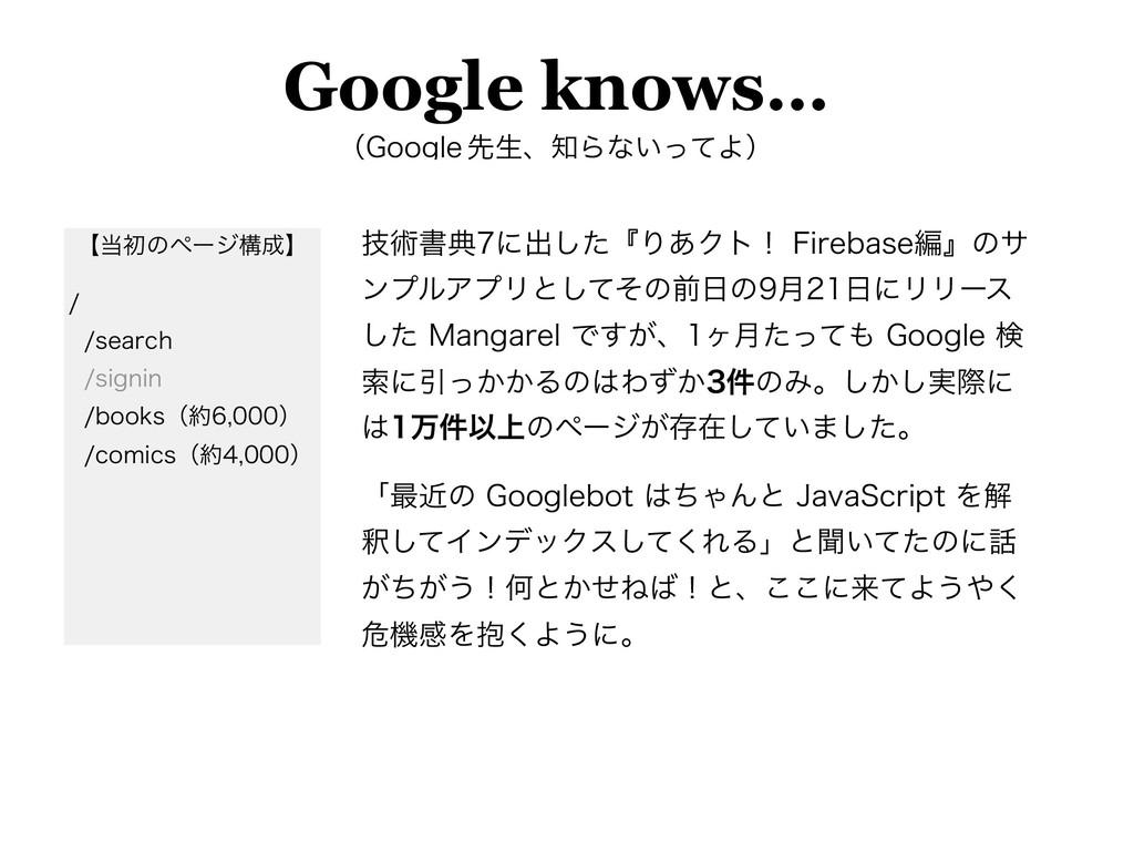 Google knows… ʢ(PPHMF ઌੜɺΒͳ͍ͬͯΑʣ ٕज़ॻయʹग़ͨ͠ʰΓ͋...