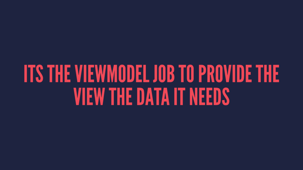 ITS THE VIEWMODEL JOB TO PROVIDE THE VIEW THE D...