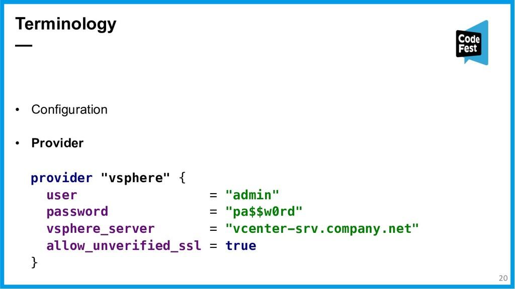 • Configuration • Provider Terminology — provid...