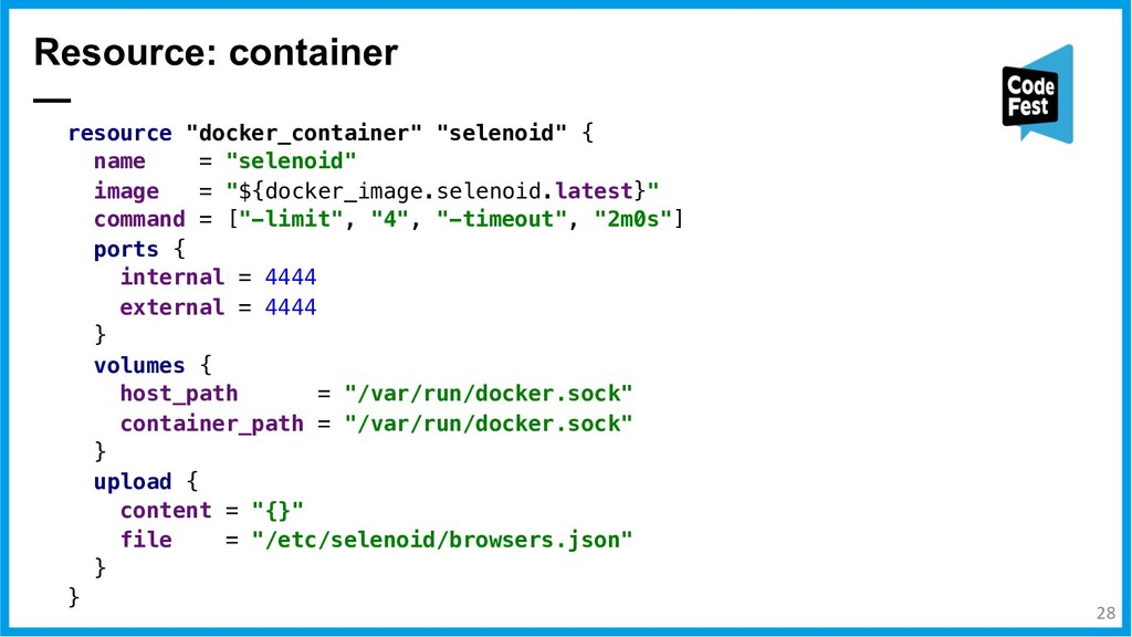 """Resource: container — resource """"docker_containe..."""