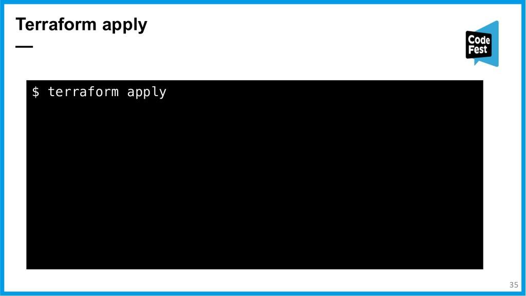 Terraform apply — $ terraform apply docker_imag...