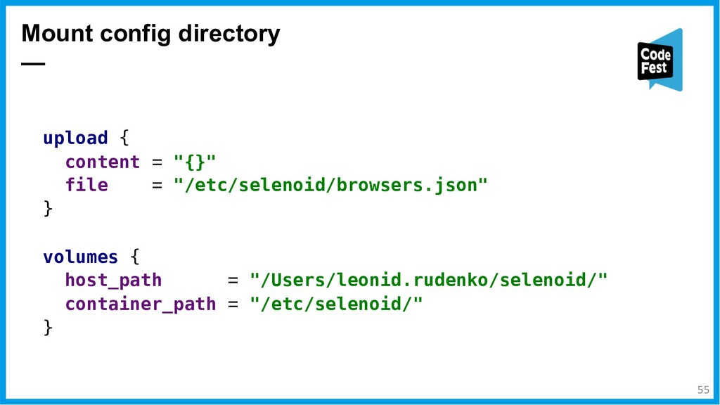 """Mount config directory — upload { content = """"{}..."""