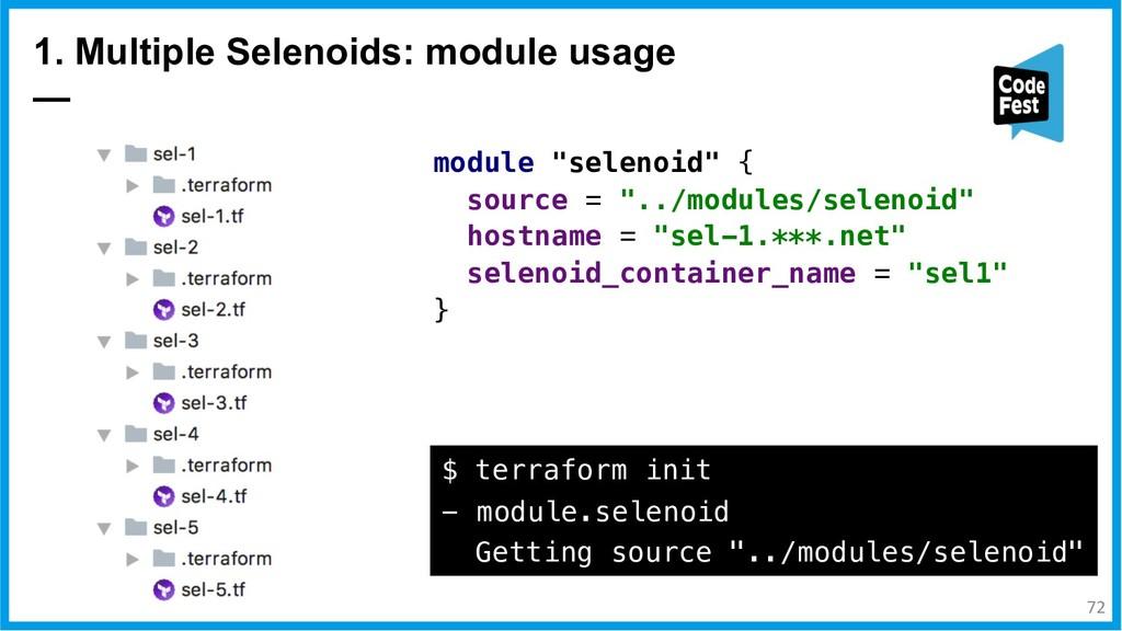 """1. Multiple Selenoids: module usage — module """"s..."""