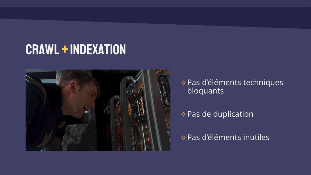 Crawl +Indexation Pas d'éléments techniques blo...