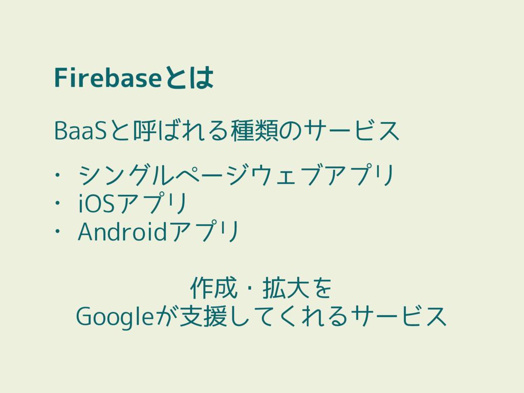 BaaSと呼ばれる種類のサービス • シングルページウェブアプリ • iOSアプリ • And...
