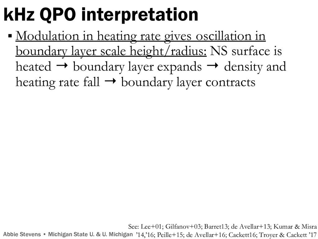 kHz QPO interpretation Abbie Stevens • Michigan...