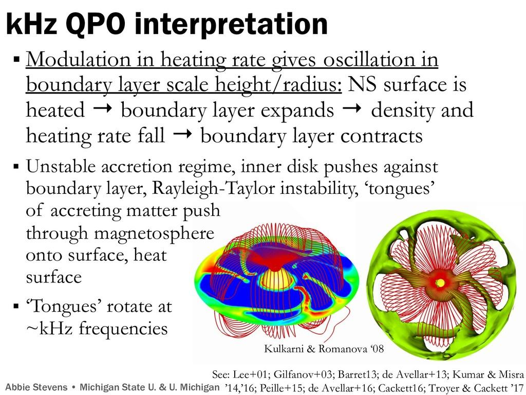 kHz QPO interpretation Kulkarni & Romanova '08 ...
