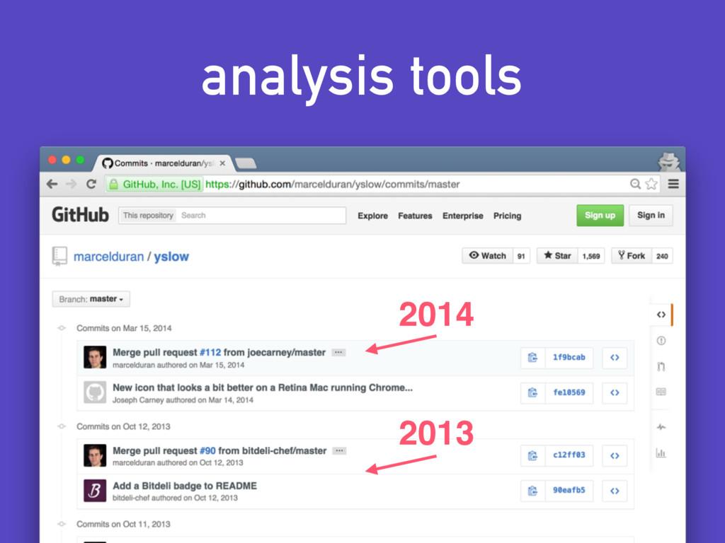 analysis tools 2014 2013