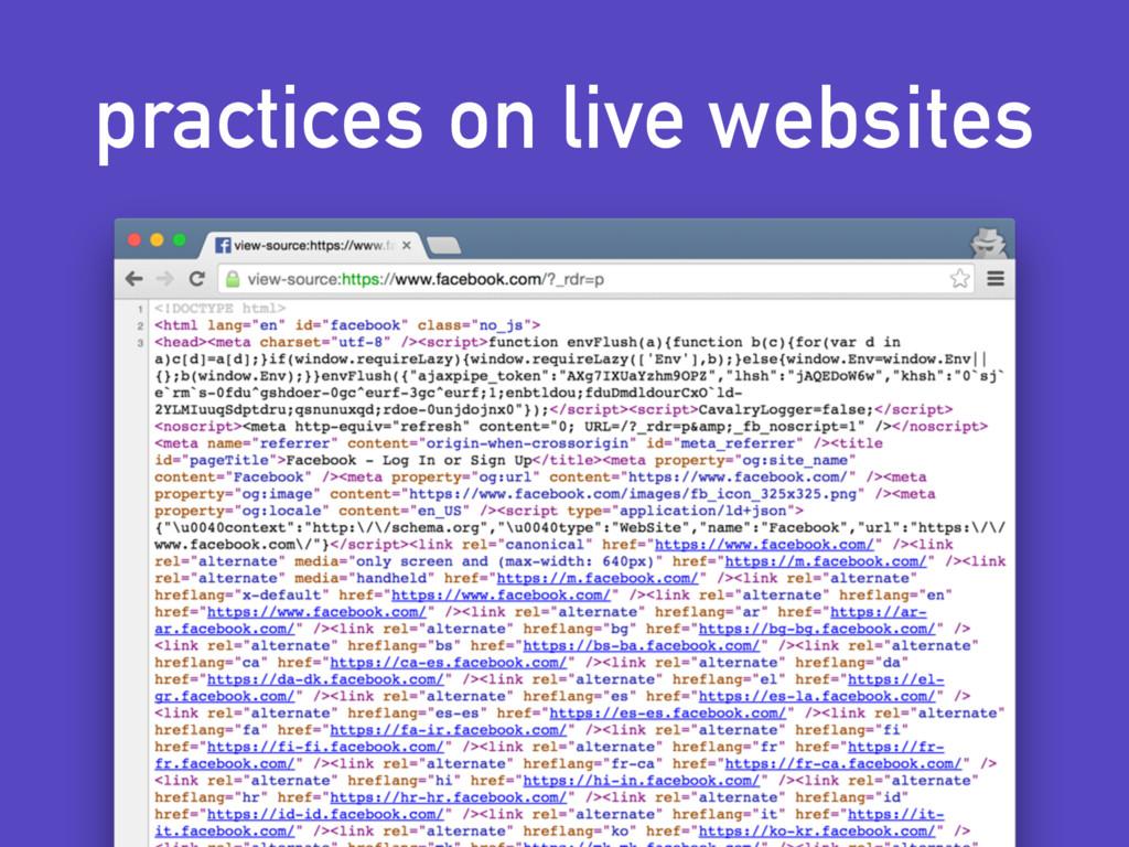 practices on live websites
